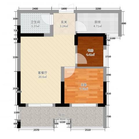 枫树园二期2室2厅1卫1厨67.00㎡户型图