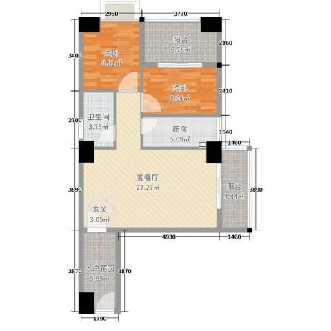御峰国际2室2厅1卫1厨85.00㎡户型图