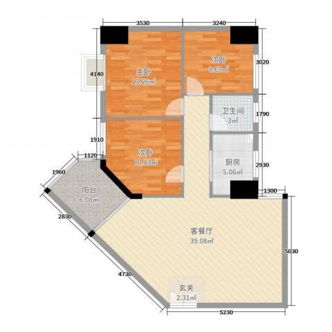御峰国际3室2厅1卫1厨107.00㎡户型图