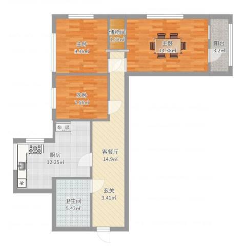 太平桥小区3室2厅1卫1厨86.00㎡户型图