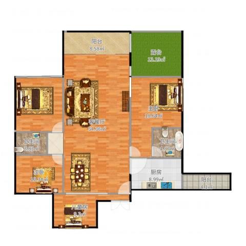 观山湖1号3室2厅2卫1厨173.00㎡户型图