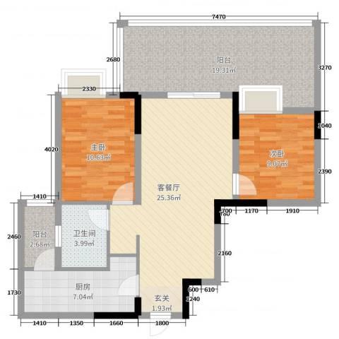 金科公园王府2室2厅1卫1厨78.07㎡户型图