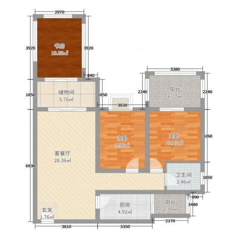 金科公园王府3室2厅1卫1厨81.31㎡户型图