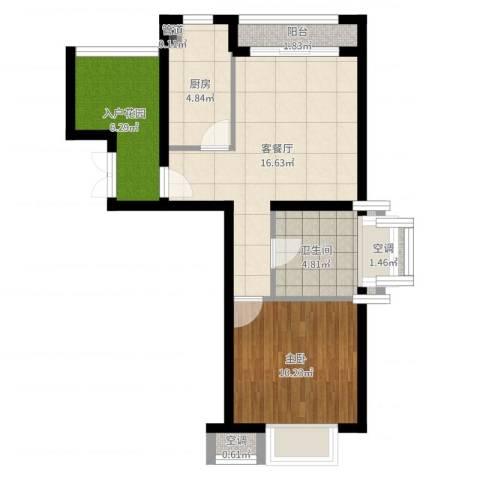 富力湾四季半岛1室2厅1卫1厨59.00㎡户型图