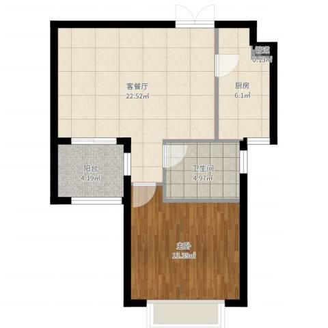 富力湾四季半岛1室2厅1卫1厨64.00㎡户型图