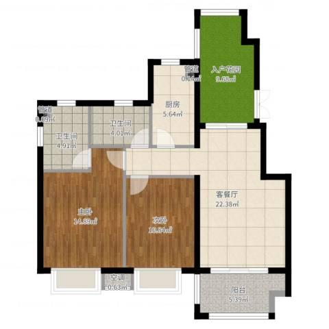富力湾四季半岛2室2厅2卫1厨98.00㎡户型图