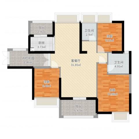古城华景苑3室2厅2卫1厨114.00㎡户型图