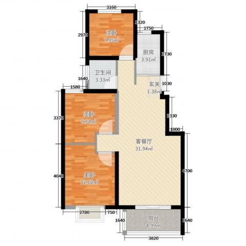天明城3室2厅1卫1厨92.00㎡户型图