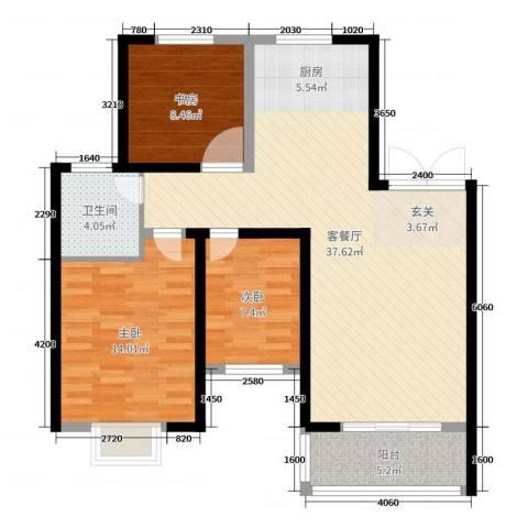 天明城3室2厅1卫0厨96.00㎡户型图