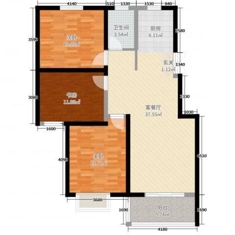 天明城3室2厅1卫0厨106.00㎡户型图