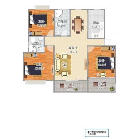 嘉城新航域3室2厅2卫1厨114.00㎡户型图