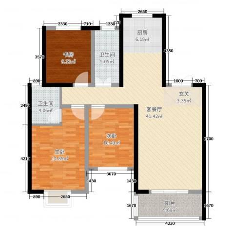 天明城3室2厅2卫0厨114.00㎡户型图