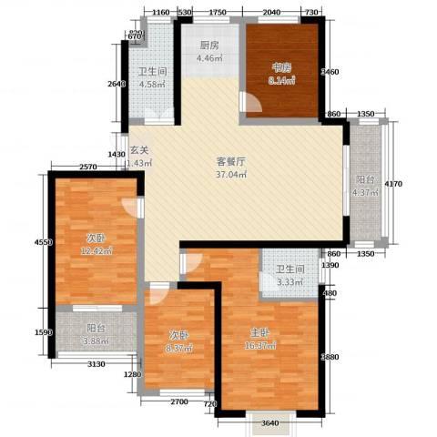 天明城4室2厅2卫0厨123.00㎡户型图