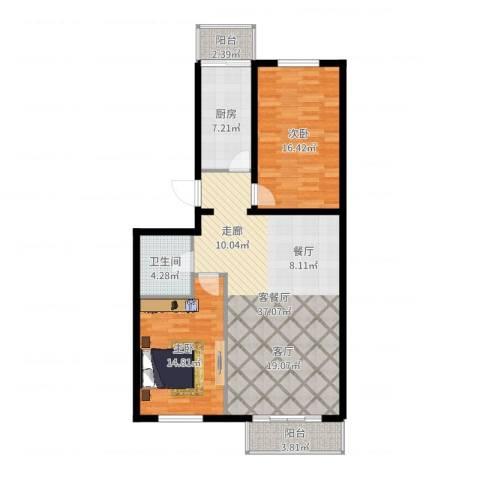 天娇美地2室2厅1卫1厨107.00㎡户型图