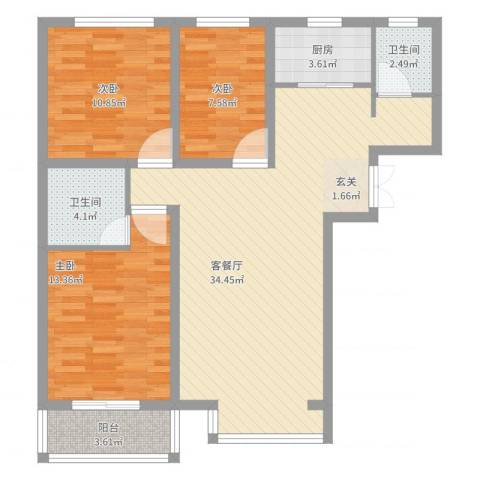 百花家园3室2厅2卫1厨115.00㎡户型图
