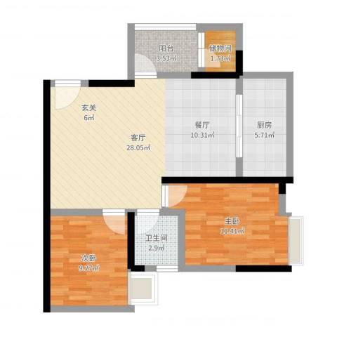 华府枫景2室1厅1卫1厨78.00㎡户型图