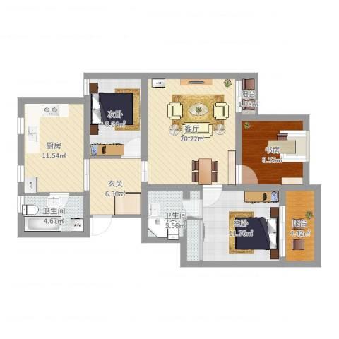 锦湖家园3室1厅2卫1厨103.00㎡户型图