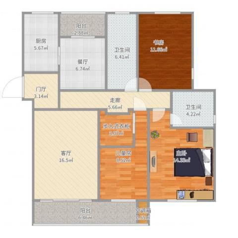 海棠花园3室2厅2卫1厨132.00㎡户型图