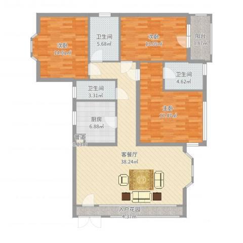 盛世华庭3室2厅3卫1厨140.00㎡户型图