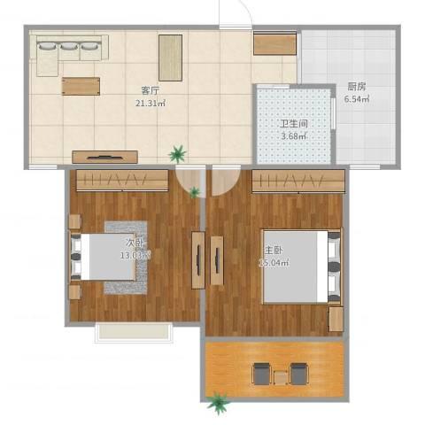 珠江香樟南园2室1厅1卫1厨81.00㎡户型图