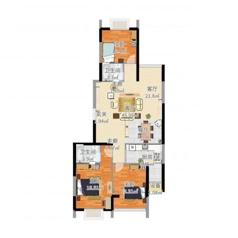 尚品花都3室1厅2卫1厨126.00㎡户型图