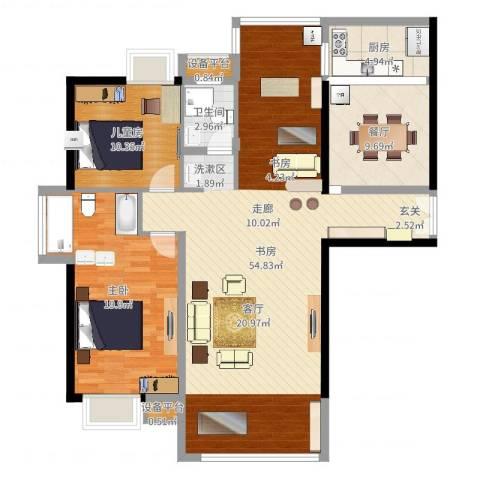富雅国际3室1厅1卫1厨130.00㎡户型图
