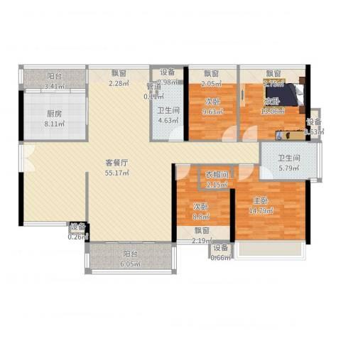 祥利上城4室2厅2卫1厨165.00㎡户型图