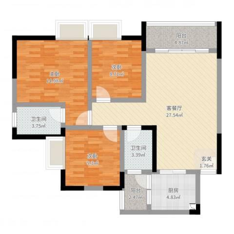 新京岸上蓝山3室2厅2卫1厨100.00㎡户型图