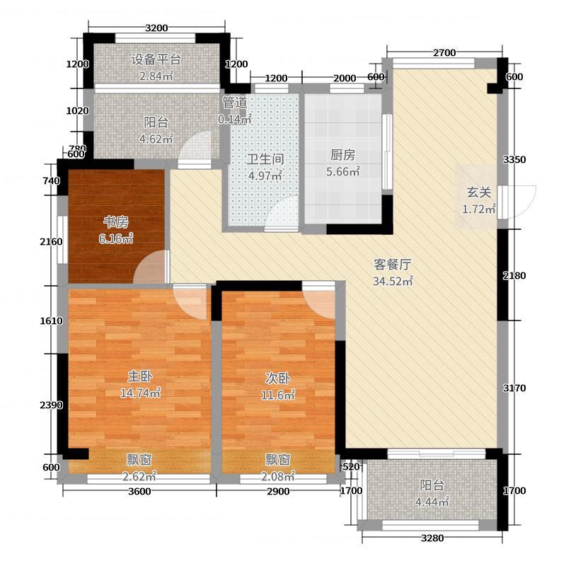 恒大水晶国际广场113.23㎡2#5#7#B户型3室3厅1卫1厨