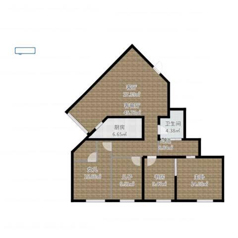 新城市经典2室2厅1卫1厨132.00㎡户型图
