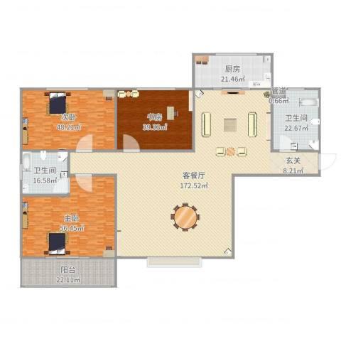 隆安东方明珠3室2厅2卫1厨464.00㎡户型图
