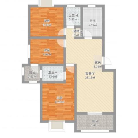 佳蓉・翰林苑3室2厅2卫1厨95.00㎡户型图