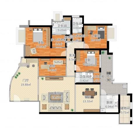 嘉和名苑7幢8014室2厅3卫1厨192.00㎡户型图