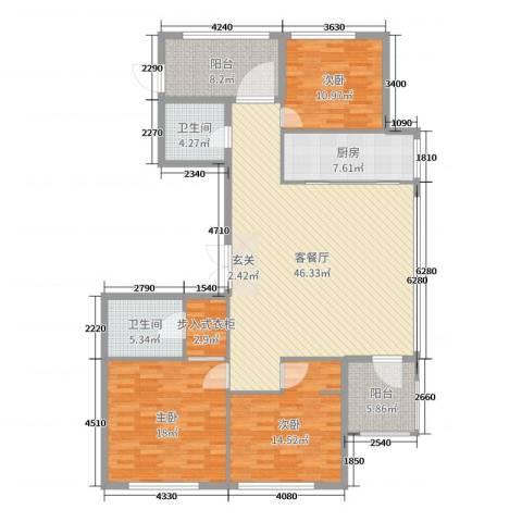 百合花园3室2厅2卫1厨155.00㎡户型图
