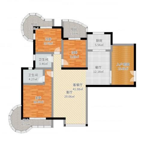 东方巴黎3室2厅2卫1厨152.00㎡户型图