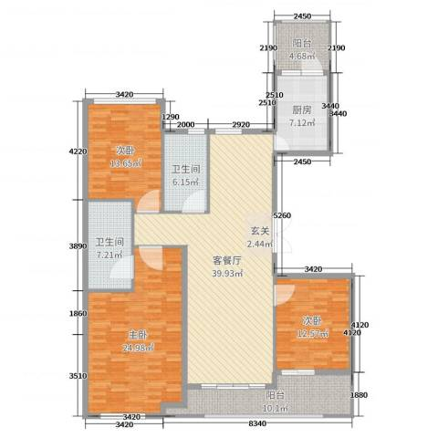 百合花园3室2厅2卫1厨158.00㎡户型图