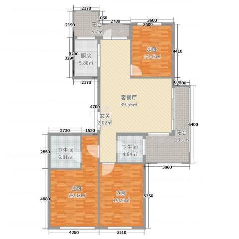 百合花园3室2厅2卫1厨167.00㎡户型图