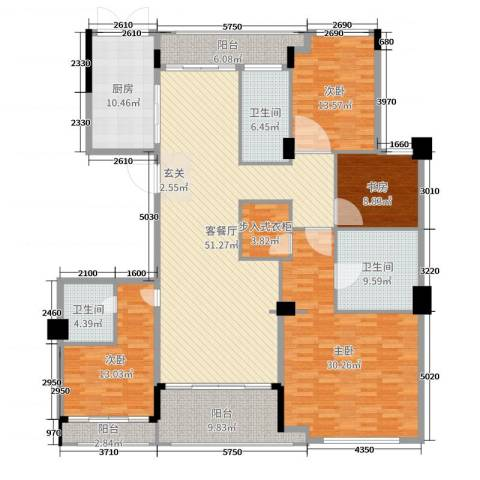 百合花园4室2厅3卫1厨213.00㎡户型图
