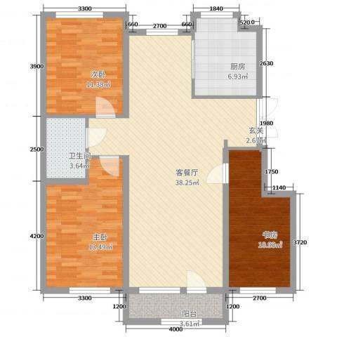 山河半岛3室2厅1卫1厨119.00㎡户型图