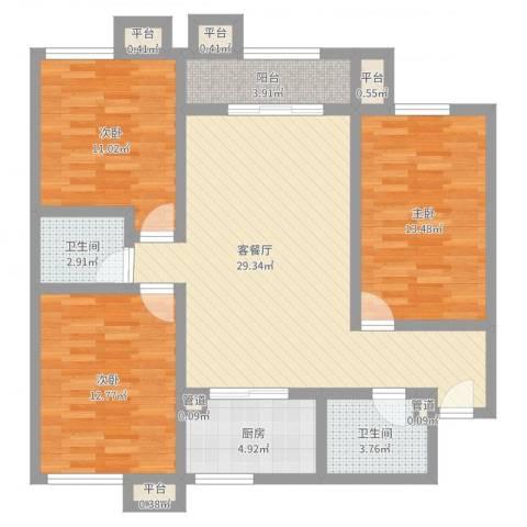 百欣花园3室2厅2卫1厨105.00㎡户型图