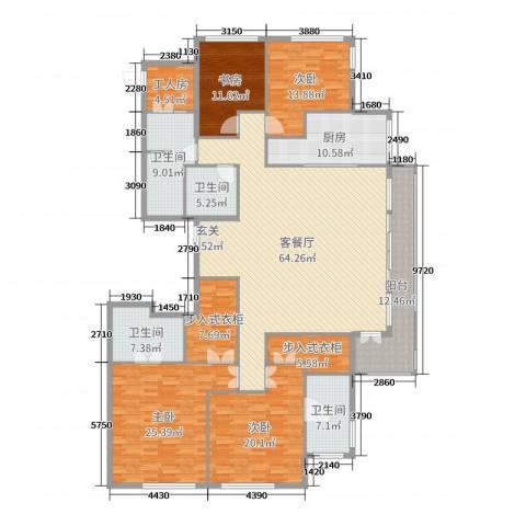 百合花园4室2厅4卫1厨256.00㎡户型图