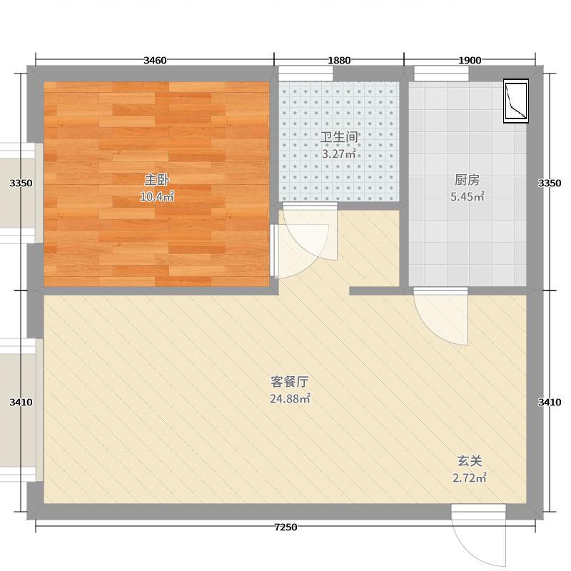 忻州田森汇54.63㎡5463-11户型1室1厅1卫