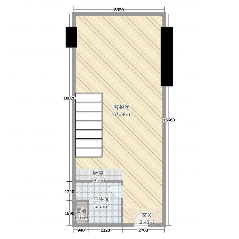 恒大�B睿94.00㎡A1首层户型1室1厅1卫1厨
