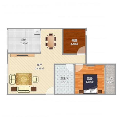 名仕花园2室1厅1卫1厨71.00㎡户型图
