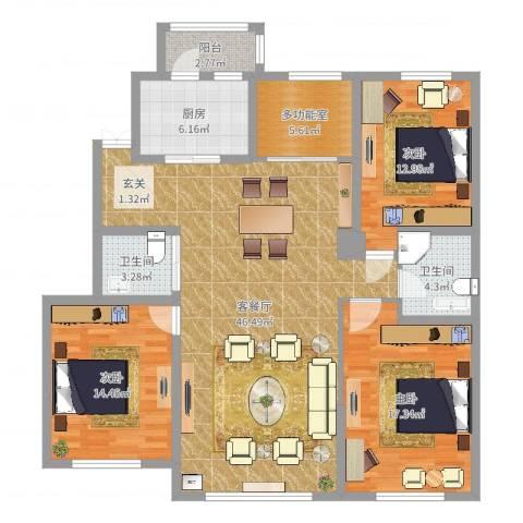 浦新教师公寓3室2厅2卫1厨142.00㎡户型图