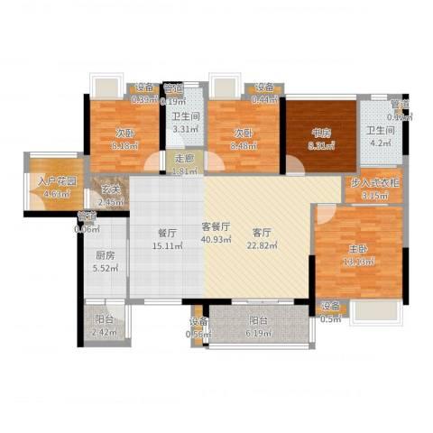 湘域中央花园4室2厅2卫1厨138.00㎡户型图