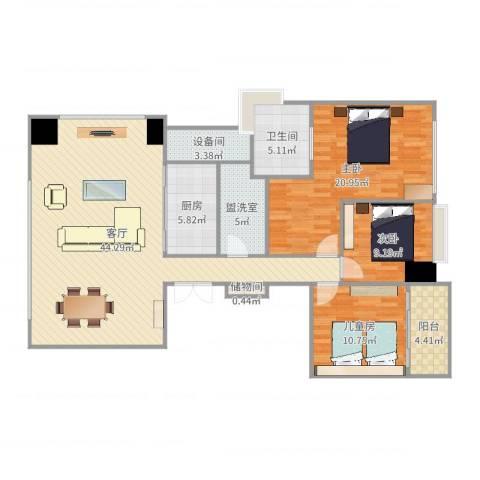 万科翡翠滨江Grace3室3厅1卫1厨137.00㎡户型图