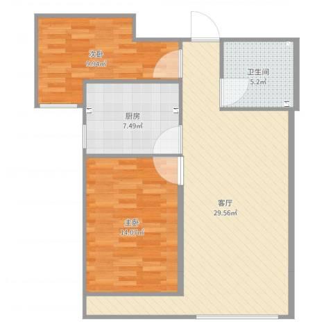 瑞府2室1厅1卫1厨83.00㎡户型图