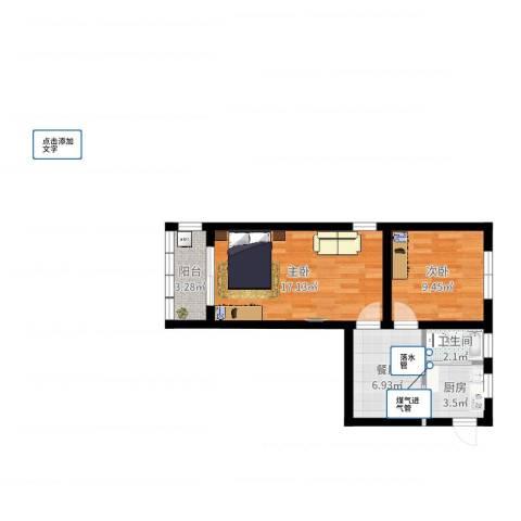 镇宁路465弄小区2室1厅1卫1厨53.00㎡户型图