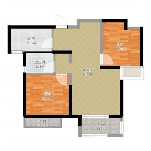 中铁滨湖名邸2室2厅1卫1厨73.00㎡户型图